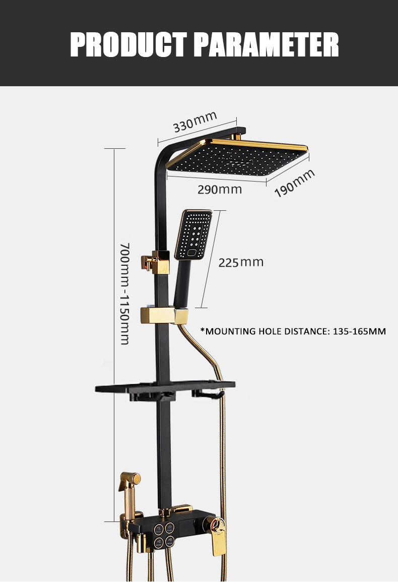 Hdc62f243c44a47b1826721d0ddded773E Hot Cold Shower System Bathroom LED Digital Shower Set Wall Mount Smart Thermostatic Bath Faucet Square Head SPA Rainfall Grifo