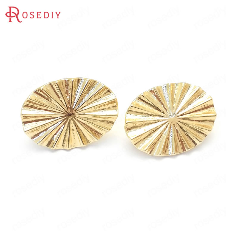 (37601)6PCS 17x13MM 24K Gold Color Brass Wave Oval Shape Stud Earrings Pins Jewelry Making Supplies Diy Findings Accessories