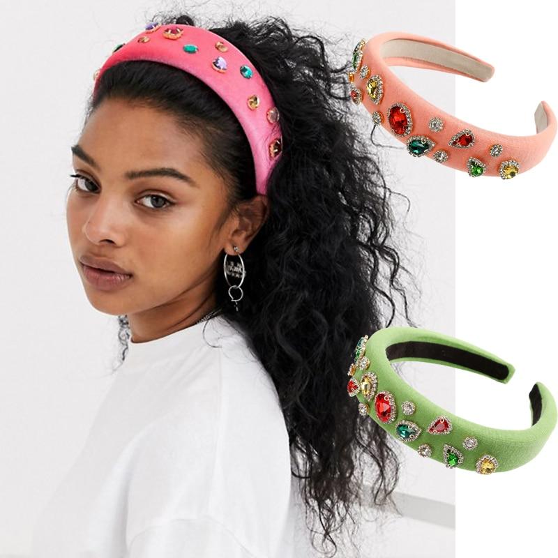 Wide Sponge Velvet Hair Hoop Headband for Women  Glitter Thick Headpiece W
