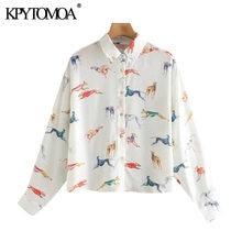 Kpytomoa女性2020ファッション動物プリントルーズブラウスヴィンテージ長袖ボタンアップ女性シャツblusasトップス