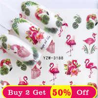 ZKO 1 PC coloré fleur/flamant transfert d'eau Nail Art autocollant beauté rouge feuille d'érable décalque ongles Art décorations