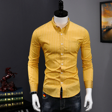New Men Easy-care Dress Shirts Handsome Striped Ca
