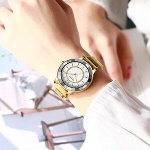 Image 5 - CURREN büyüleyici Rhinestone Quartz saat moda tasarım saatler kadınlar paslanmaz çelik şerit saat kadın lüks reloj mujer
