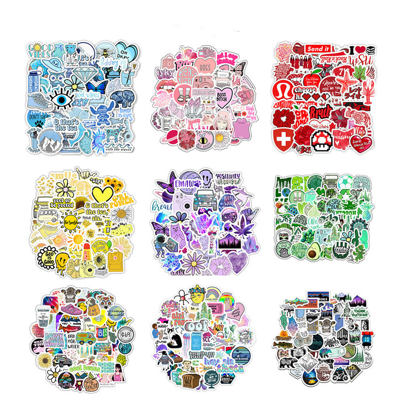 Ins Style Vinyl Cute Nature VSCO Girl Stickers For Water Bottles Waterproof Aesthetic Stickers For Girls For Laptop Phone Car