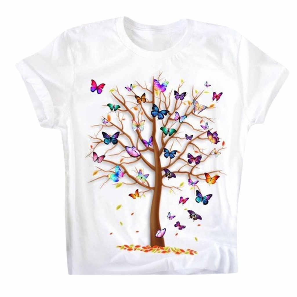 Tシャツ女性のカジュアルラウンドネック半袖蝶の木プリントトップスtシャツオーファム原宿トップ女性ロパmujer tシャツ