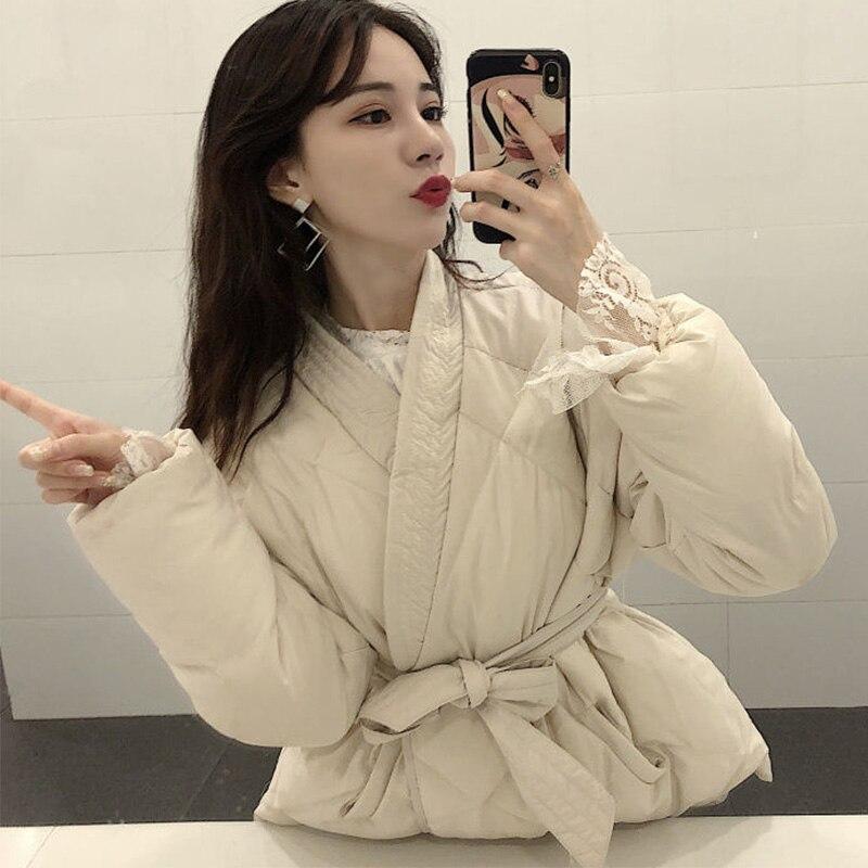 Femmes hiver Parkas vestes japonais Kimono ceinture femme coton rembourré manteau veste 2019 automne épaissir chaud femmes Parka