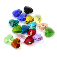 50pcs 28mm Various Colors Crystal Heart Beads Crystal Chandelier Pendents DIY