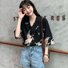 Women Blusas Tops Print Chinese Style Shirt V Neck Short Sleeve Chiffon Blouse Female Vintage Shirts 2018 summer blouse women shirts v neck polka dot crop tops lace up short sleeve pleated shirt vintage female casual chic blusas