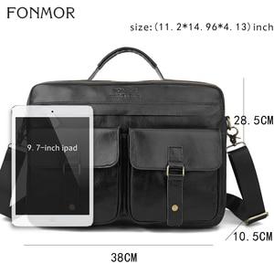 Image 2 - Fonmor New 100%Cowhide Briefcases Men Big Totes Genuine Leather Handbag Zipper Male Business Hasp Pocket Soft Handle Bags