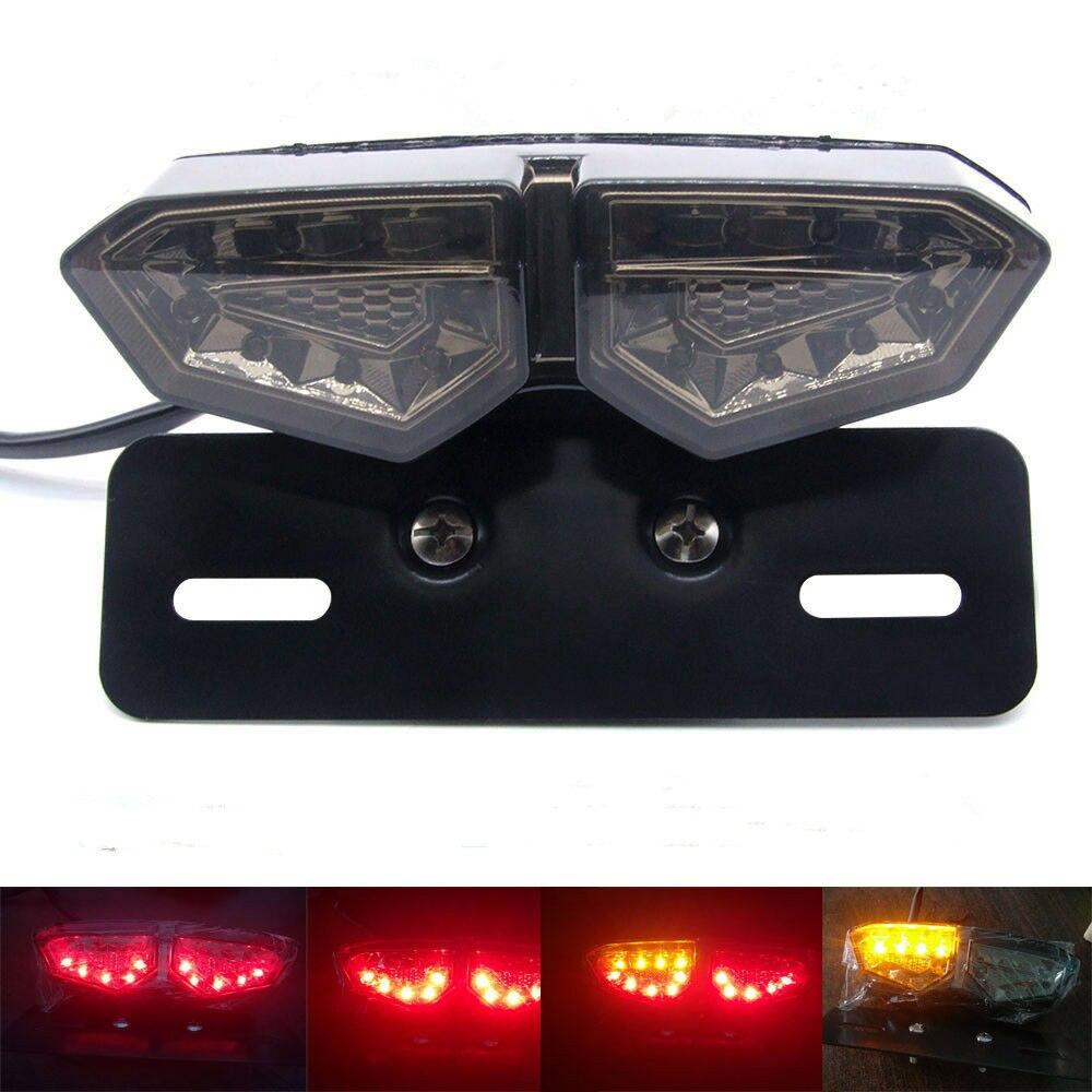 Triclicks Smoke Motorcycle Fog Light Tail Brake Stop Turn Single Rear Lights Dual Color LED Indicator License Plate Lamp