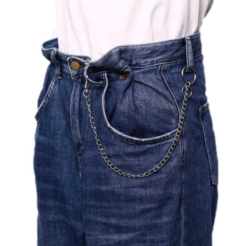 QrhYK 42 ซม.เอว Chain Punk Hip Hop Rock กางเกงห่วงโซ่โลหะพวงกุญแจแหวนผู้ชายผู้ชายผู้หญิงกระเป๋า Trinket 1PC