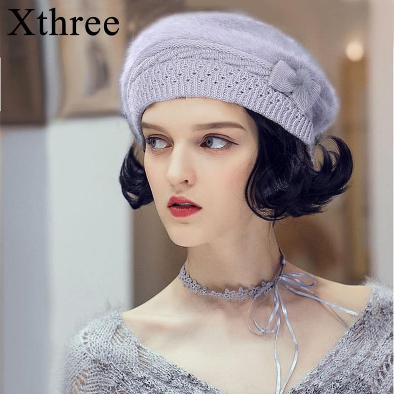 Женская вязаная шапка Xthree, зимняя/Осенняя шапка из кроличьего меха для мамы|Женские береты|   | АлиЭкспресс