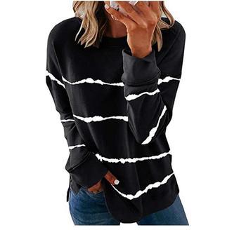 2020 New Autumn Tops 5XL Large Size Women Tie Dye Stripe T Shirt Casual Long Sleeve Oversized Loose Tee Shirt Fashion Ladies Top - style3, XXXL