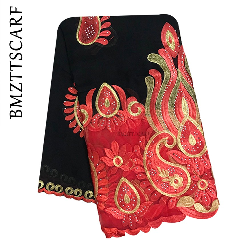 High Quality African Women Scarf Cotton Splice Net Embroidery Women Scarf For Shawls   BM944