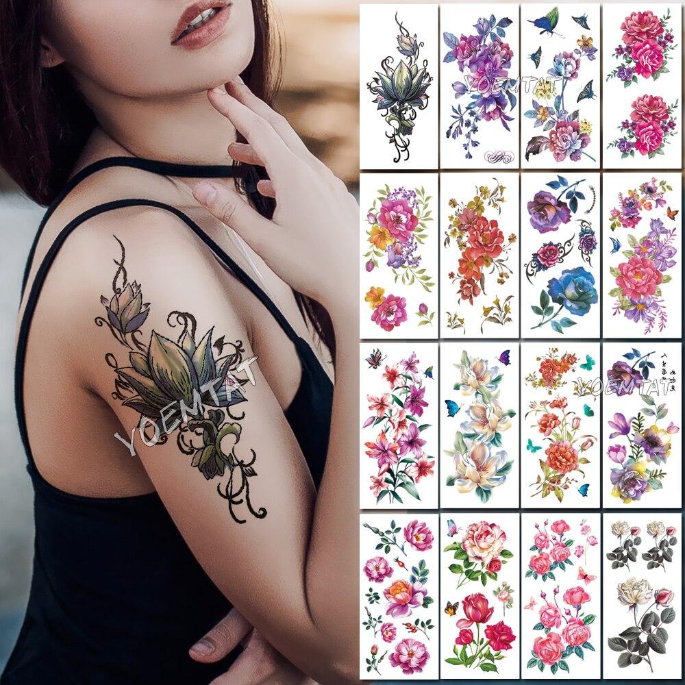 Dark Lotus Flower Temporary Tattoos For Women Hand Tattoo Sticker Fashion Body Chest Art Waterproof Arm Fake Tatoo