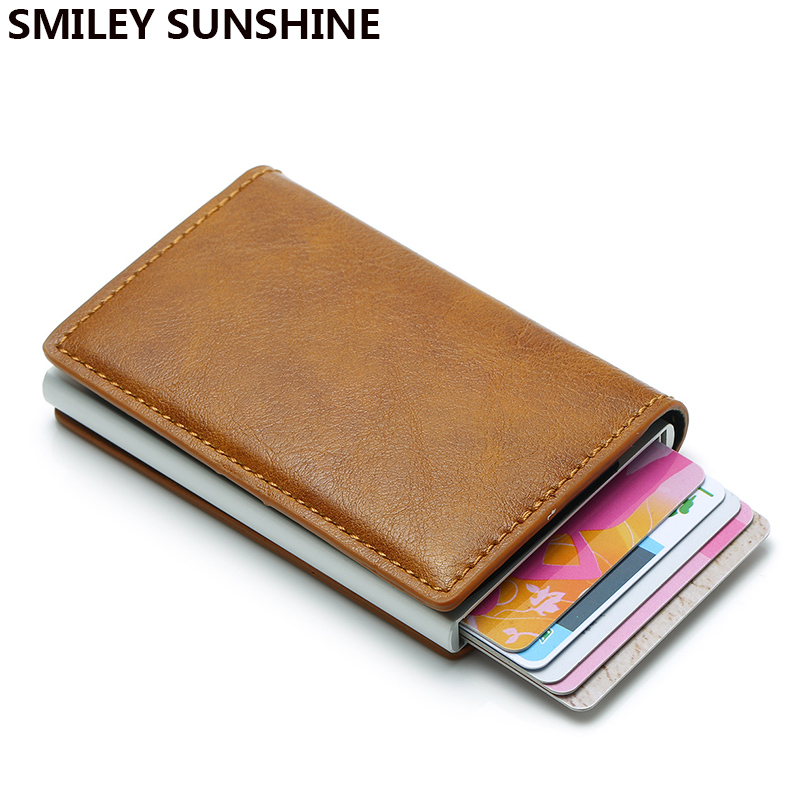 Rfid Blocking Aluminium Thin Men Wallets Male Mini Slim Wallet Trifold Card Holders Walet Small Purses Money Bag Vallet Waller