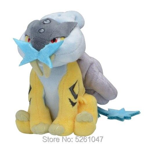 Original Pocket Monster Raikou Plush Doll Stuffed Toy Cute Figure 14cm Small Kid Gift