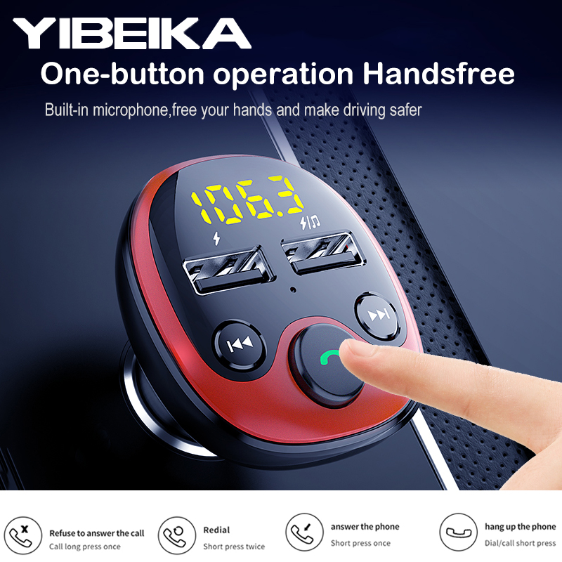 YIBEIKA Car Charger for iPhone Mobile Phone Handsfree FM Transmitter Bluetooth Car Kit MP3 Player Dual USB Car 3.1APhone Charger