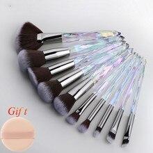 10Pcs Crystal Makeup Brushes Set Powder Foundation Fan Brush Eye Shadow Eyebrow Professional Blush Makeup Brush Tools