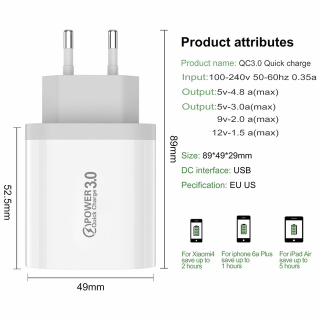 USLION Quick Charge 3.0 USB Phone Charger For Samsung S8 S9 Xiaomi mi 8 Huawei Fast Wall Charging For iPhone 6 7 8 X XS Max iPad 5
