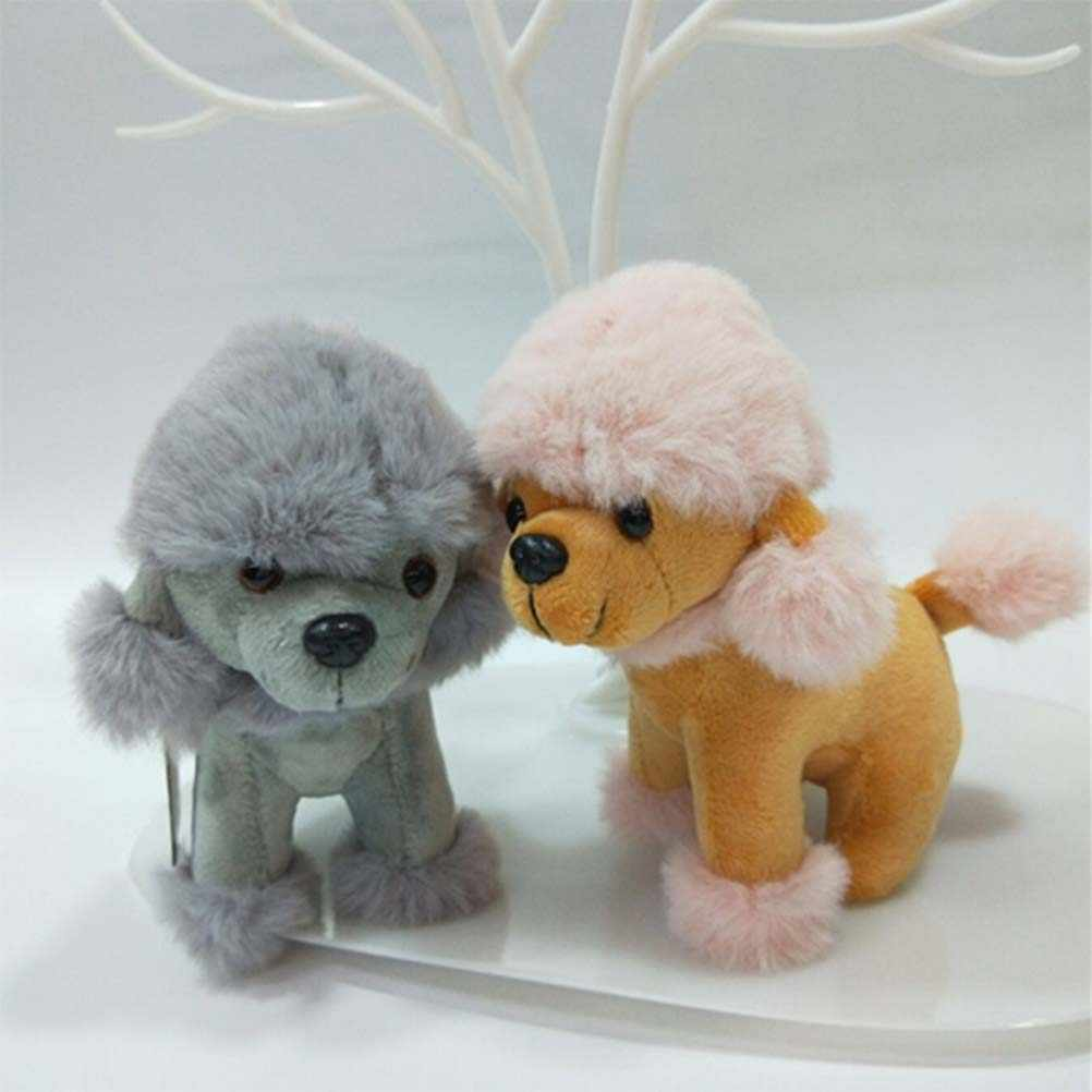 1 pieza de dibujos animados poodle llavero Poodle lindo peluche teléfono colgante bolsa adorno colgante para regalo de vacaciones llaveros de felpa