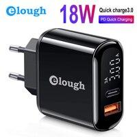 Elough 18 Вт Быстрая зарядка 3,0 4,0 USB зарядное устройство для samsung Xiaomi huawei iPhone EU Qualcomm PD мобильный телефон быстрое зарядное устройство адаптер