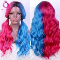 OLEY-Peluca de cabello sintético para mujer afroamericana, cabellera artificial resistente al calor, color rosa medio azul, sin encaje, barata, para Cosplay