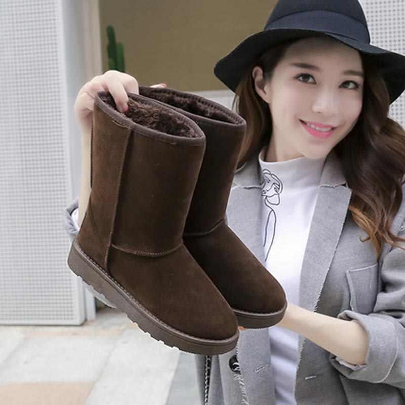 Yeni kış sıcak ayakkabı kadınlar için peluş siyah çizmeler yüksek kalite hakiki deri avustralya klasik kar botları bayan botları
