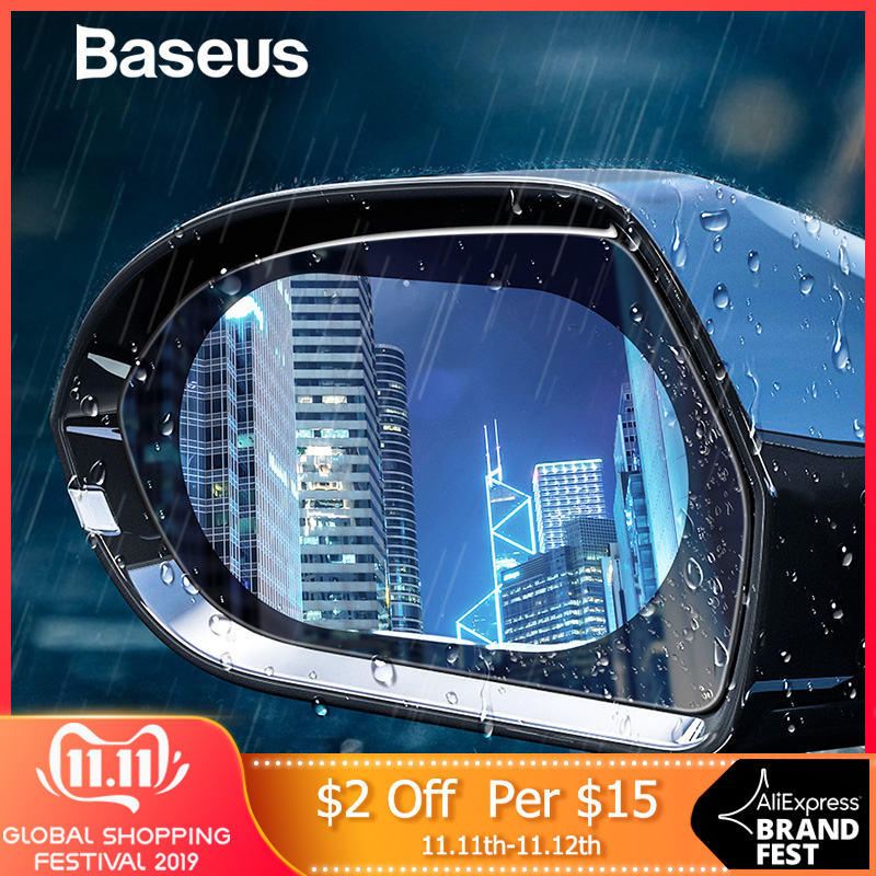 Baseus 2pcs 0.15mm Car Mirror Window Film Anti glare Waterproof Car Rear View Anti Fog Protective Mirror Sticker-in Car Stickers from Automobiles & Motorcycles