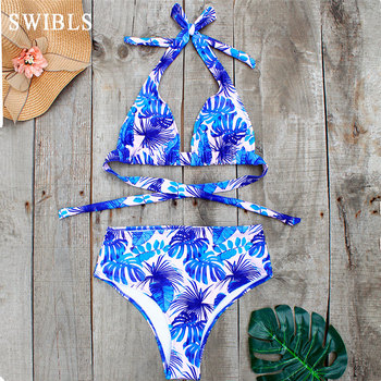 2020 Woman Plus Size Swimwear High Waist Bikini Big Women Bathing Suits Floral Vintage Female Sexy Bather Swimsuits 1