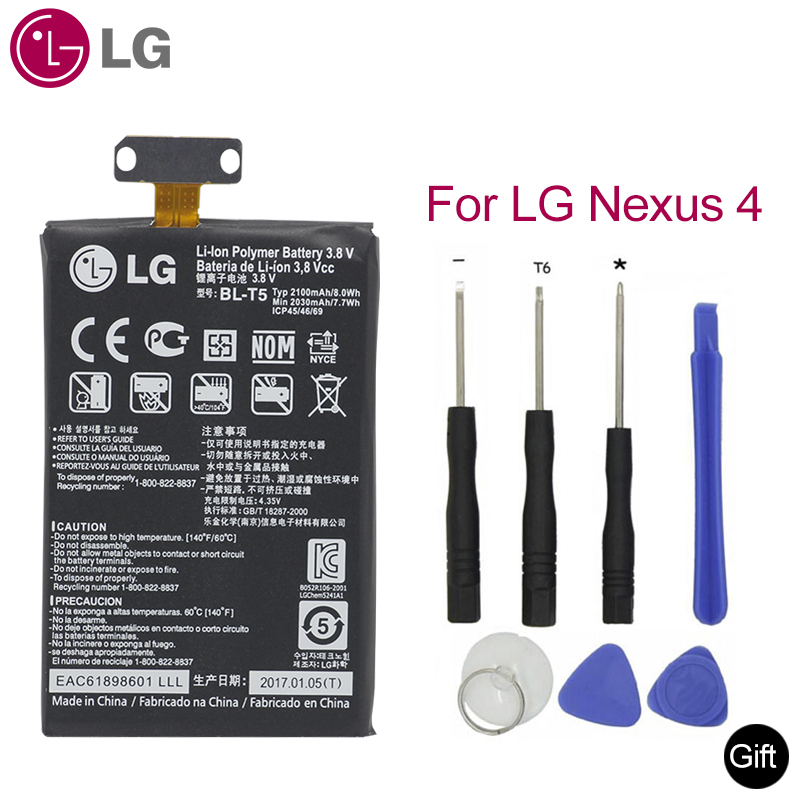 <font><b>LG</b></font> Original Replacement Phone <font><b>Battery</b></font> BL-T5 For <font><b>LG</b></font> Google Nexus <font><b>4</b></font> E960 Optimus G E970 E973 F180 LS970 E975 BLT5 BL-T5 2030mAh image