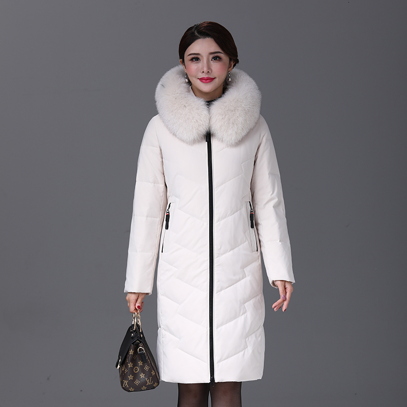YICIYA Winter Women Duck Down Jacket Parka Long Ultralight Natural Feather Real Fox Fur Luxury High Quality Duck Down Coat