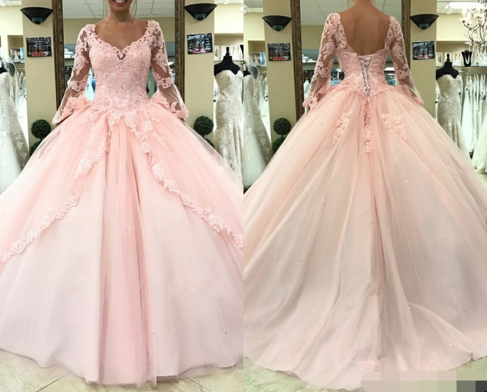 2019 Light Pink Quinceanera Dresses Long Sleeves Ball Gown Princess Sweet 16 Birthday Sweet Girls Prom Special Occasion Gown