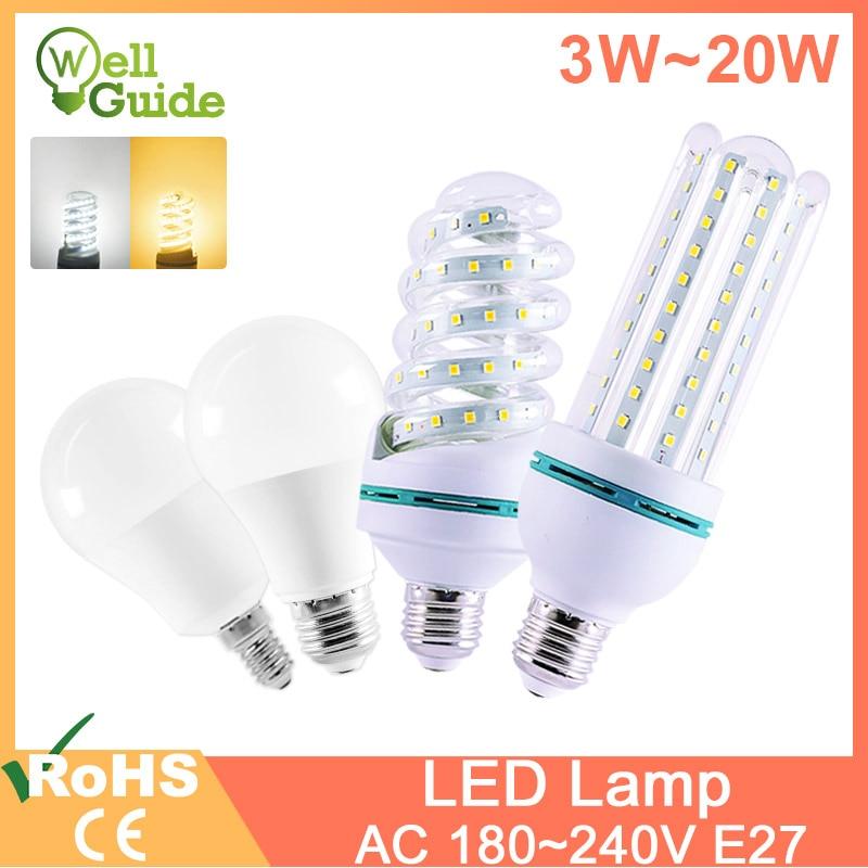 led lamp light E27 E14 led bulb Real 20W 16W 12W 9W 7W 5W 3W lampara AC 220V 240V LED Lamp Aluminum Table lamp Lamps light