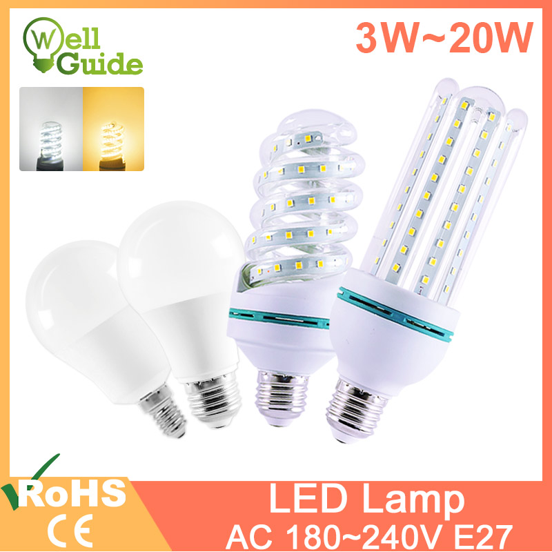 Led Lamp Light E27 E14 Led Bulb Real 20W 16W 12W  9W 7W 5W 3W Lampara  AC 220V 240V LED Lamp Aluminum Table Lamp Lamps Light