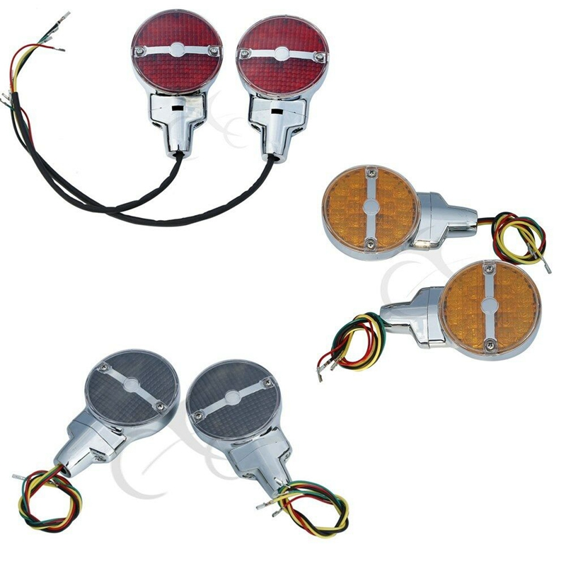 Motorcycle Bar Shield Rear LED Turn Signals For Harley Touring Electra Glide Road King FLHR FLHTC Heritage Softail Classic FLSTC