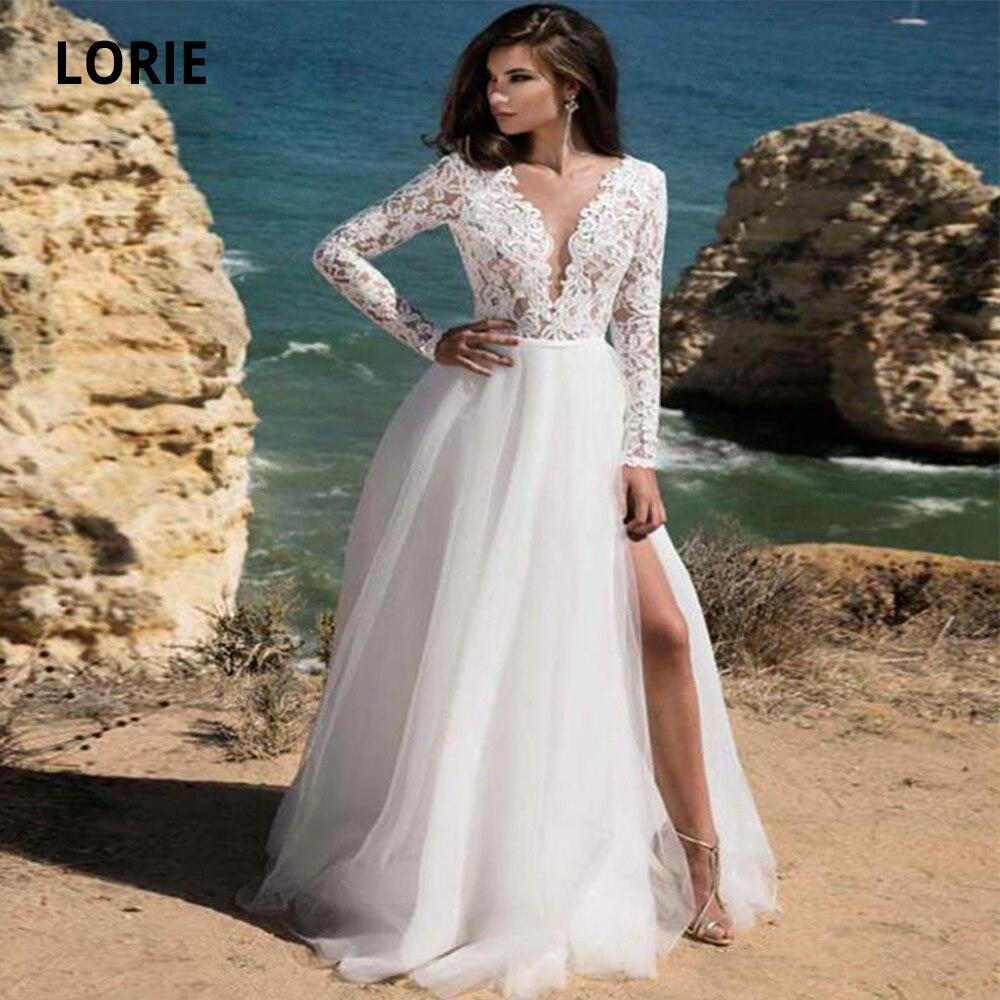 LORIE Wedding Dresses Boho Beach 2019 Soft Tulle  Long Sleeve Open Back V-neck Lace Bridal Gowns With Split Gelinlik Plus Size