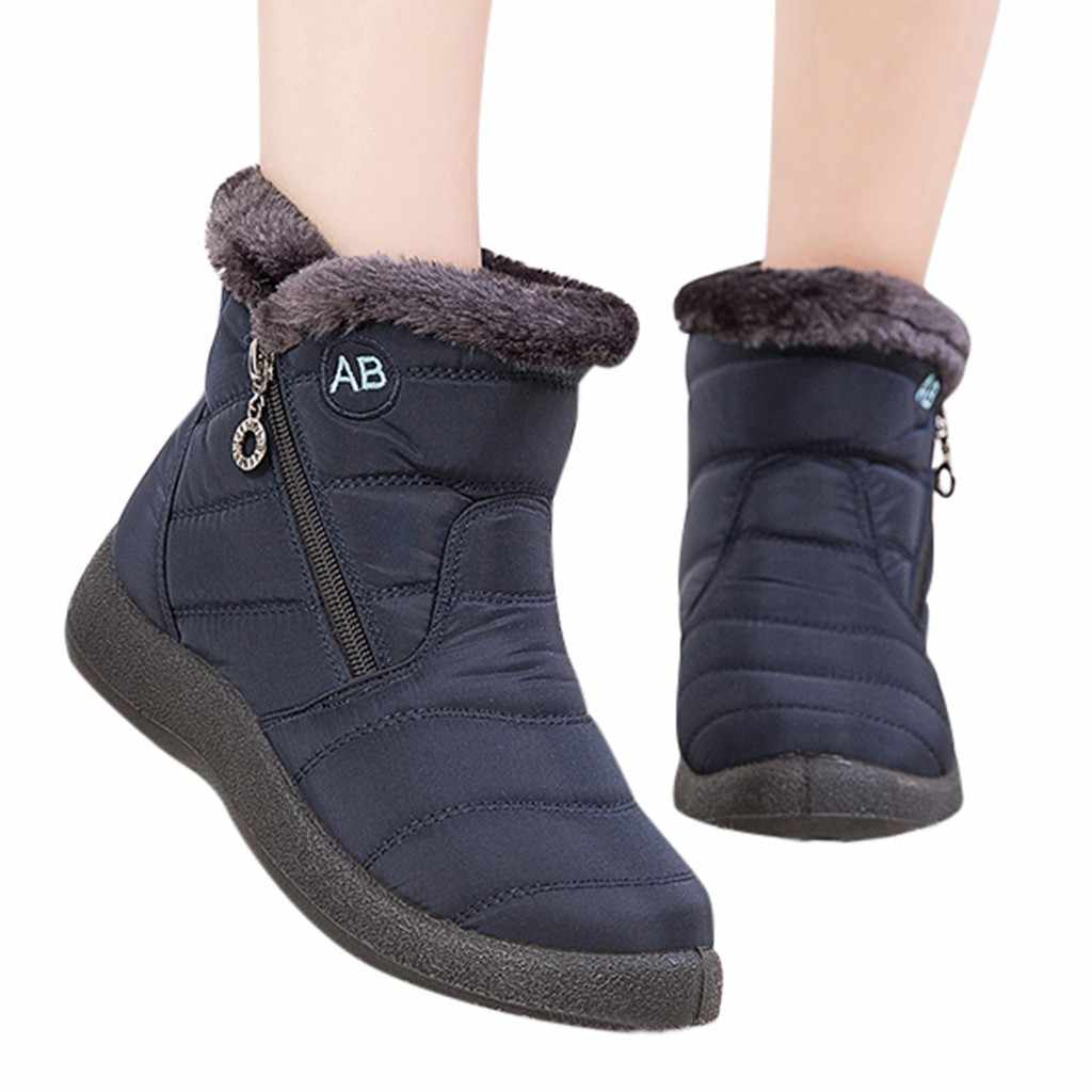 Women Snow Boots Warm Short Fur Plush Winter Ankle Boots Plus Size Ladies Shoes Female Zip Comfort Warm Shoes Footwear #1016