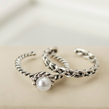 New Rings Antique Silver Plated Simulated Pearl Band Ring Set Rings For Women Jewelry Christmas Silver Ring Wholesale(China)