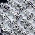 25 Pcs/lot Skull Rings for Men Women Wholesale Rings Punk Skeleton Gothic Alloy Rings Style Jewelry