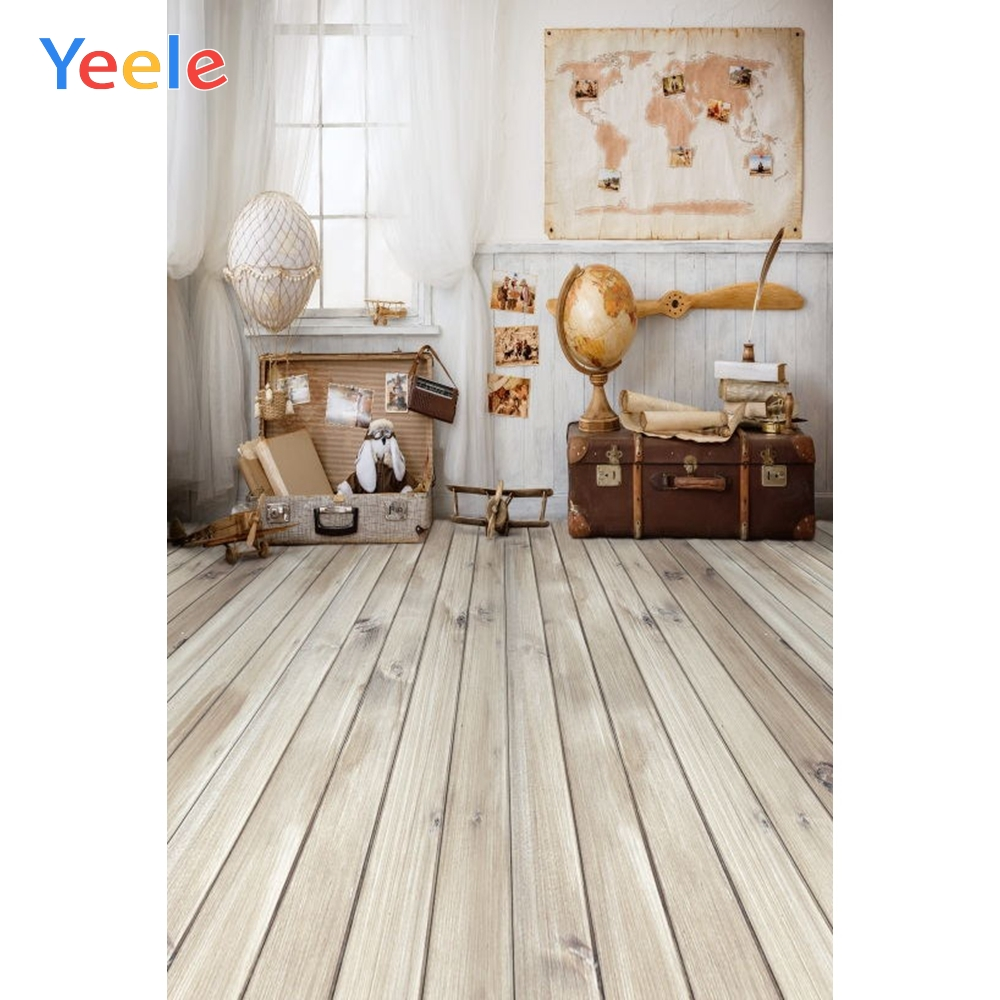 Yeele Indoor Photography Backdrop Wood Board World Map Travel Newborn Baby Birthday Photo Background For Photo Studio Props