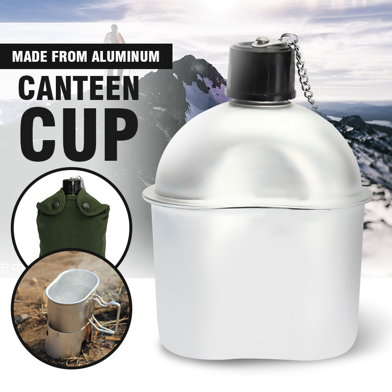 0.8L Outdoor Sport Military Aluminum Stainless Steel Water Bottle Canteen Jug + Army Green Cloth Cover Camping Picnic Tableware