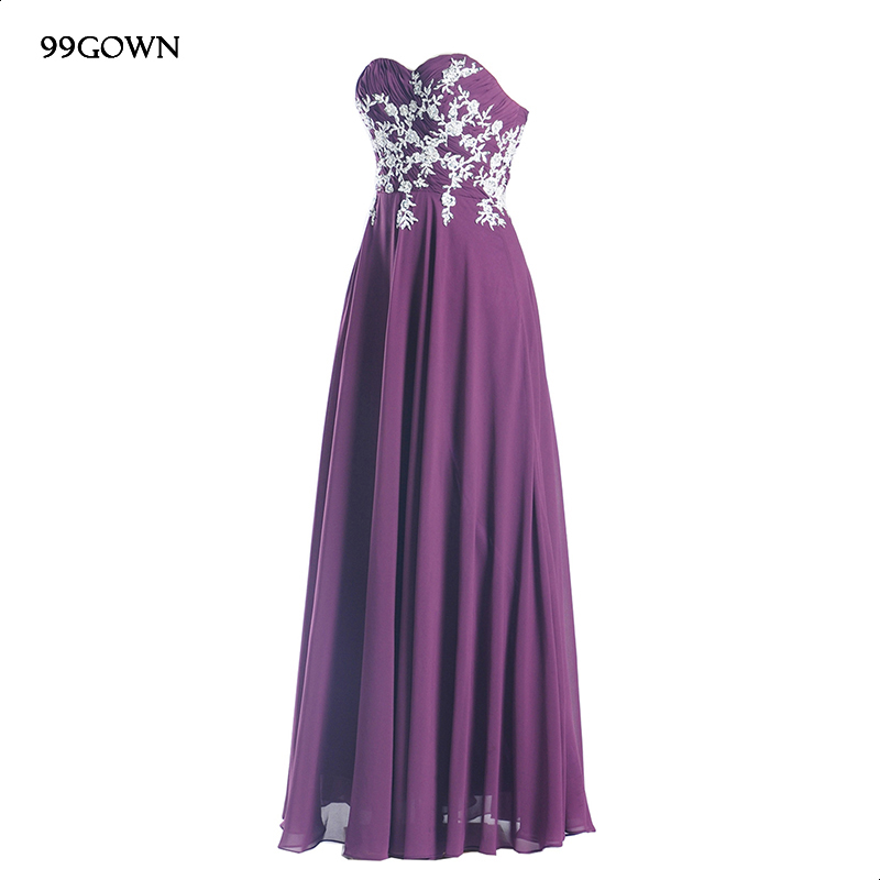 99GOWN Wedding Party Dresses For Women Strapless Luxury Embroidery Long Chiffon Bridesmaid Dresses Purple Wedding Guest Dress