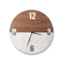 2019 Silent Wood Clock Living Room Nordic Bedroom Decoration Round Wall Clock Simple Modern Clock