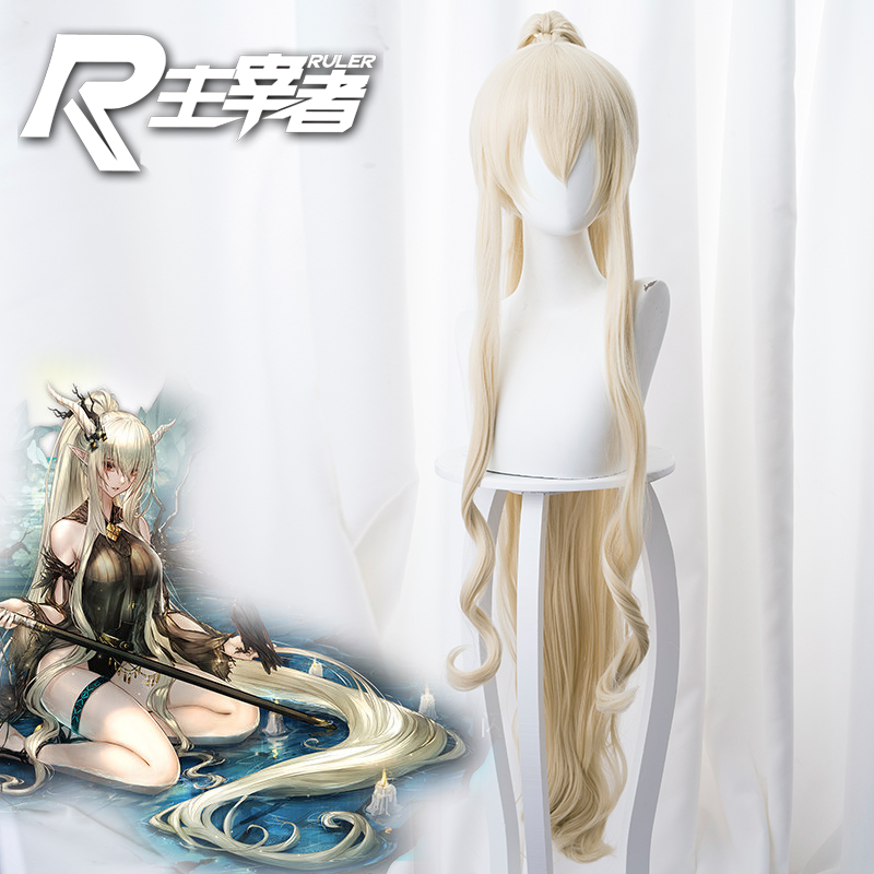 Wigs Prop!! Hot Game Arknights Shining Cosplay Silent Midnight Swimsuit Long Yellow Ponytail Curly Hair Role Play Accessories
