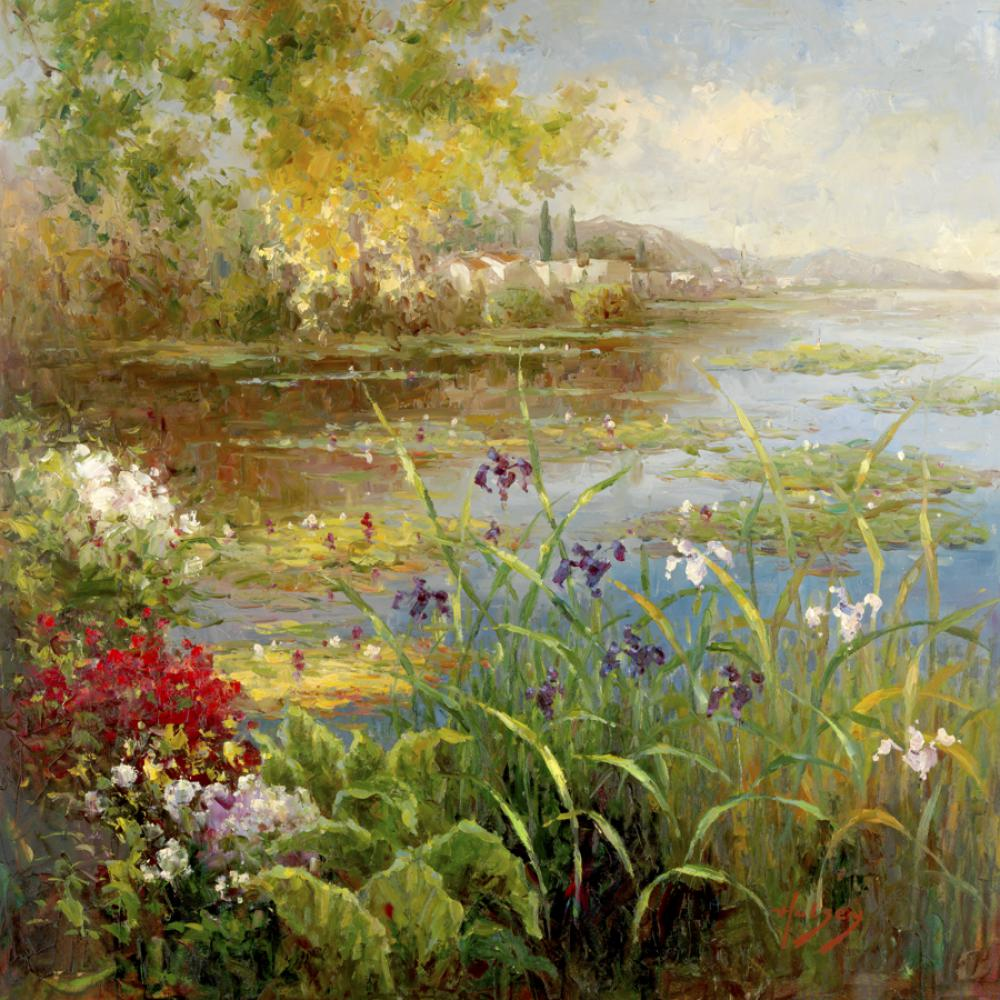 Peint à la main peintures à l'huile jardin paysages Village étang toile art pour décoration murale