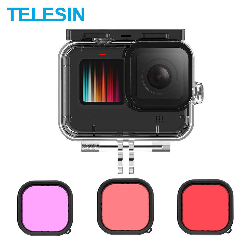 TELESIN 50M Waterproof Case Underwater Tempered Glass Diving Housing Cover Lens Filter for GoPro Hero 9 Black Camera Accessories 1