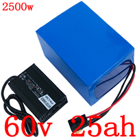 60V 25AH lithium scooter battery 60V 25AH electric bike battery  for 60V 1500W 2000W 2500W ebike moror with 50A BMS +5A charger