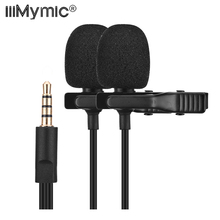 iiiMymic Dual Head Lavalier Lapel Microphone Clip on Wired Mic for ios Android Smartphone Mobile Phone Cell Laptop Recording