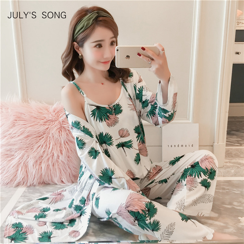 JULY'S SONG Woman Pajamas Set Sling Cotton Pajamas 3 Peices Sleepwear For Women Long Sleeves Breathable Sexy Robe Homewear